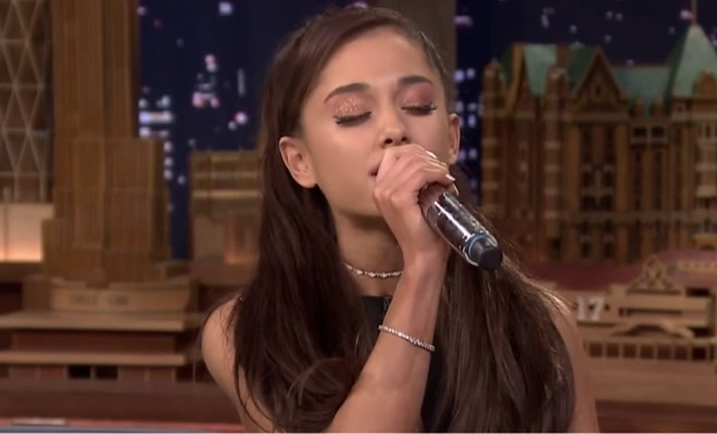 "Ariana Grande singing ""Beauty and the Beast"""