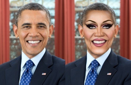 President Barack Obama transformed into a Drag Queen