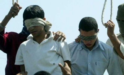 A photo of gay teens about to be hanged in Iran .