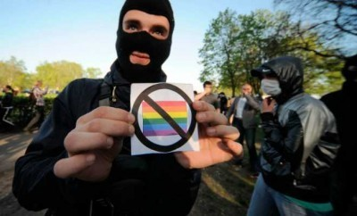 A photo of a Russian anti gay rallies.