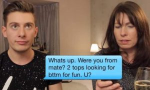 A mom reads her son's Grindr messages on video.