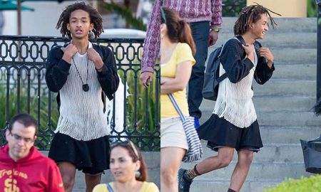A photo of Jaden Smith wearing dresses.