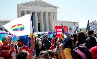 The photo outside the Supreme Court while justices decide whether to ban same-sex marriage.