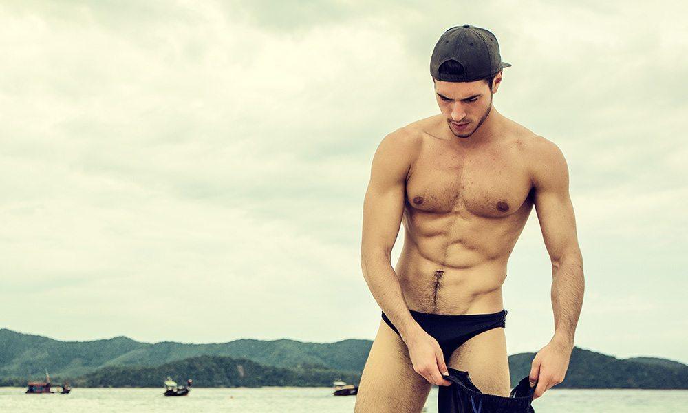 Man at a gay beach