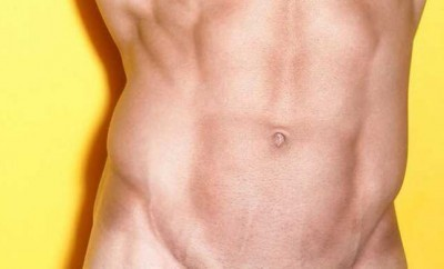 A photo of a hot guy with shaved pubes.