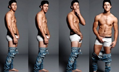 A photo of Nick Jonas shirtless from 'Falunt' magazine.