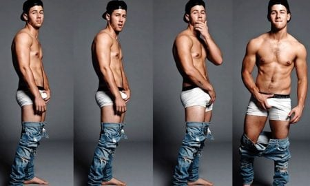 A photo of Nick Jonas shirtless from 'Falunt' magazine.
