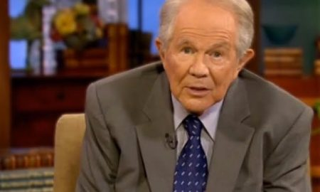 A photo of anti gay televangelist Pat Robertson.