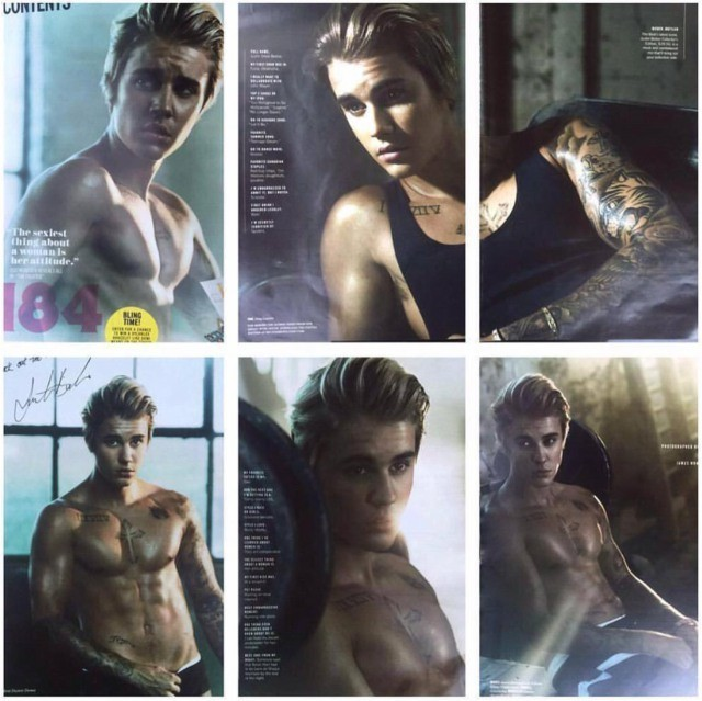 When Justin Bieber oils up for Cosmopolitan photo shoot.