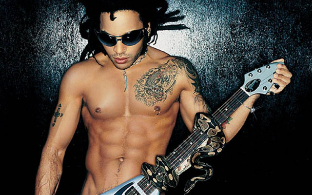 Lenny Kravitz flute flopped out on stage.