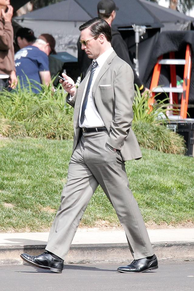 This is a photo of Jon Hamm on the set of 'Mad Men.'