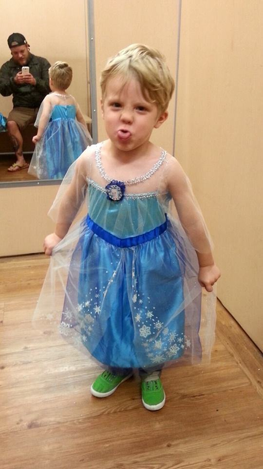 Boy Dressed as Elsa