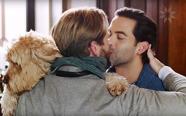 This is a photo of a gay couple from the Nordstrom holiday ad.