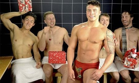 This is a photo of the 'Steam Room Stories' boys doing Secret Santa.