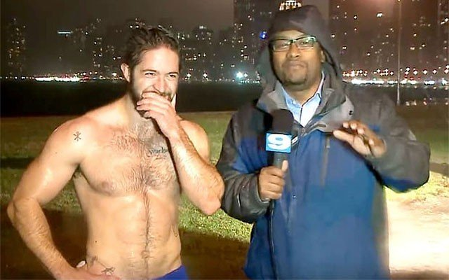This is a photo of the shirtless Chicago jogger.