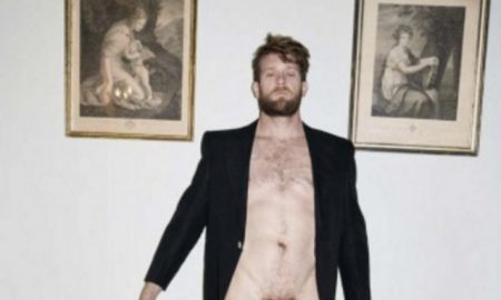 Colby Keller poses in Venice Vivienne Westwod Mirror the World campaign.