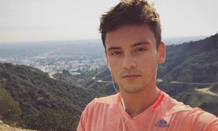 This is a photo of Tom Daley hiking.