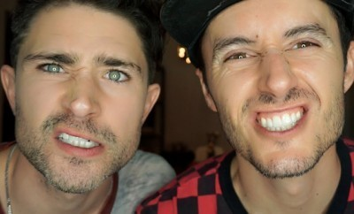 This is a photo of Matt Dallas and his husband Blue Hamilton.