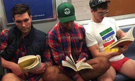 This is a photo from the No Pants Subway Ride.