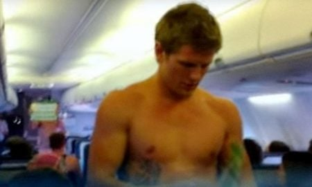 This is a photo of a rugby player doing an in-flight demonstration.