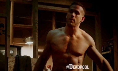 This is a photo of Ryan Reynolds shirtless in the new 'Deadpool' movie.