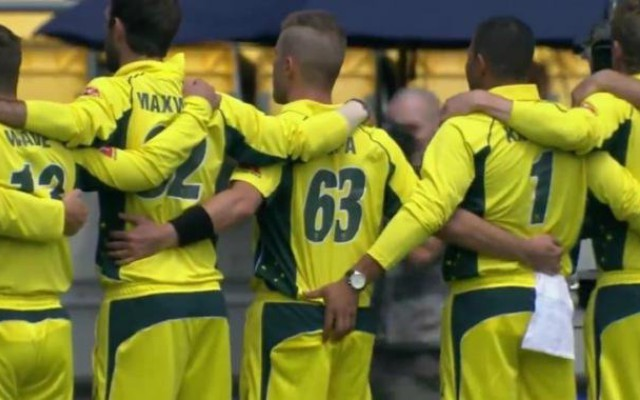 Australian cricket player grabs teammates butt