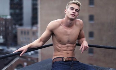 This is a photo of Calvin Klein model Mitchell Slaggert.