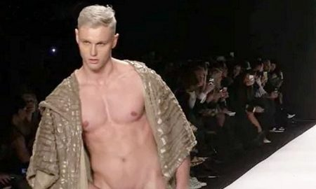 This is a photo of a male model on the runway.