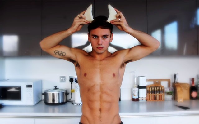 This is a photo of Tom Daley wearing bread horns.