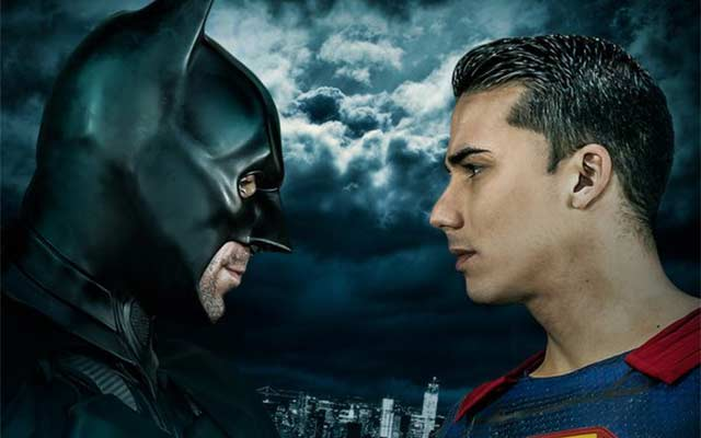 This is a photo from the 'Batman v Superman' gay parody.