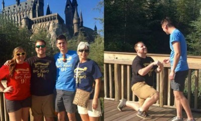 Wizarding World of Harry Potter Proposal with Golden Snitch ring box