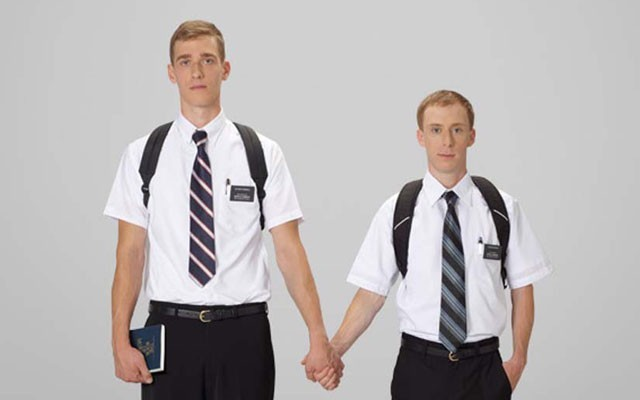 This is a photo of two Mormon men.