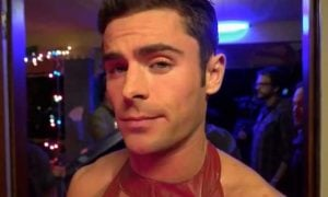 This is a photo of Zac Efron wearing a leather dress.