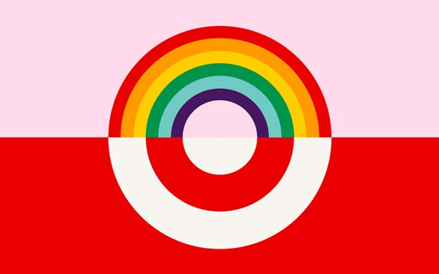 This is a photo of the rainbow Target logo showing gay pride.