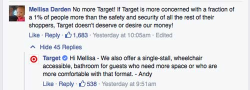 This is a screenshot from a Boycott Target Twitter exchange.