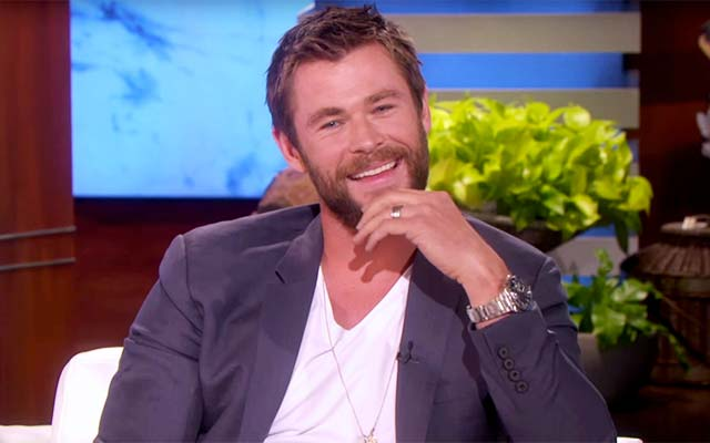 This is a photo of Chris Hemsworth on Ellen.