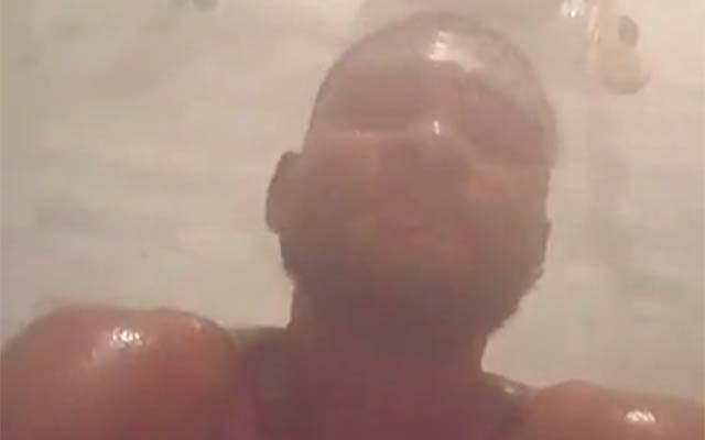 This is a photo of Usher in his steam room.