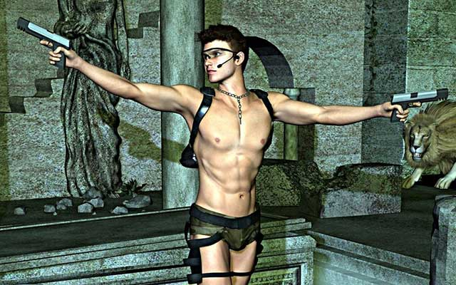 This is an illustration of a male tomb raider, if Lara Croft was a guy.