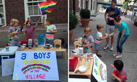 Adorable young boys sell lemonade to raise money for the Orlando Victims at New York Pride.