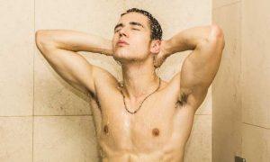 Guy in shower.