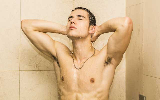 Guy in shower.