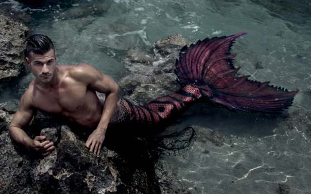 A male mermaid also known as a merman.