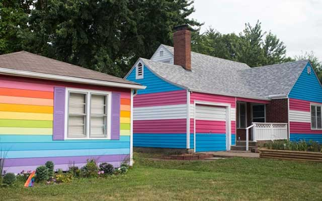 The Westboro Baptist Church rainbow houses