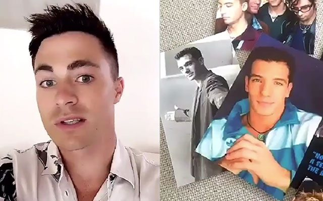 Colton Haynes shows off NSYNC collection.