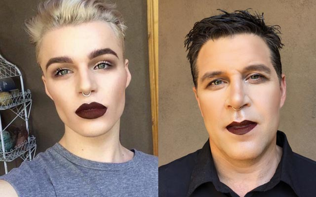Spencer Claus does his dad's makeup like his.
