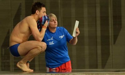 Tom Daley and hi coach Jane Figueiredo