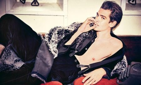 Actor Andrew Garfield posing shirtless for L'Uomo Vogue.