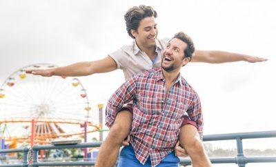 A gay couple on the Santa Monica Pier