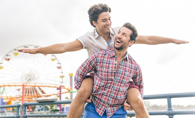 A gay couple on the Santa Monica Pier
