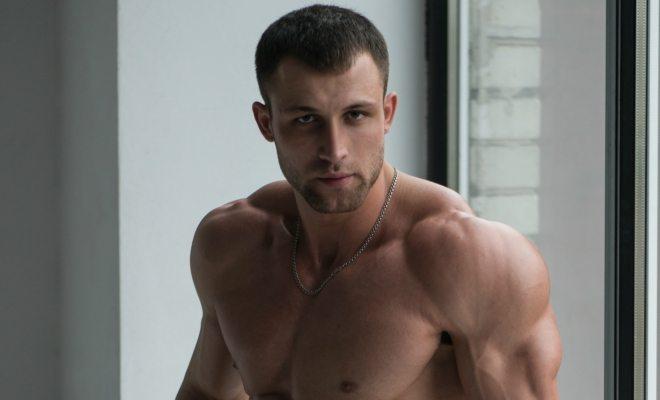 A muscular shirtless man